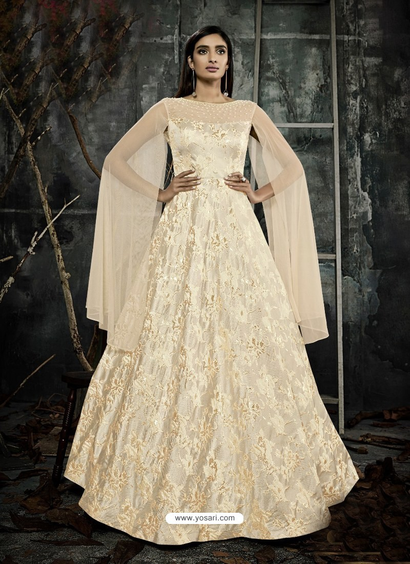 Buy Cream Jacquard Designer Readymade Gown Gowns
