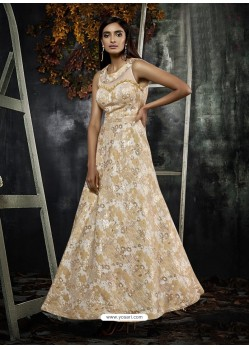 Beige And White Jacquard Designer Readymade Gown