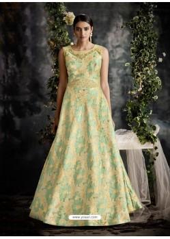 Sea Green Jacquard Designer Readymade Gown
