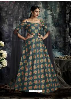 Navy Blue Jacquard Designer Readymade Gown