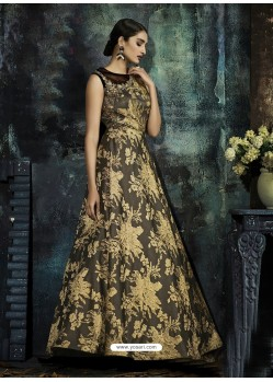 Black And Gold Jacquard Designer Readymade Gown