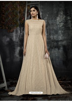 Light Beige Jacquard Designer Readymade Gown
