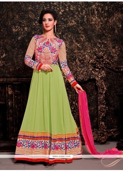 Elegant Green Embroidery Work Anarkali Suit