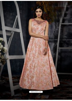 Pink Jacquard Designer Readymade Gown