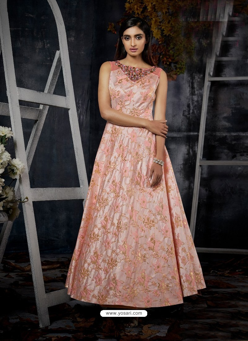 Buy Pink Jacquard Designer Readymade Gown Gowns