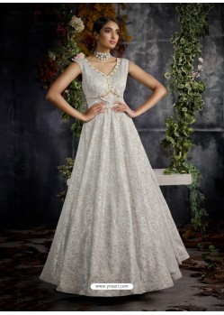 Silver Jacquard Designer Readymade Gown