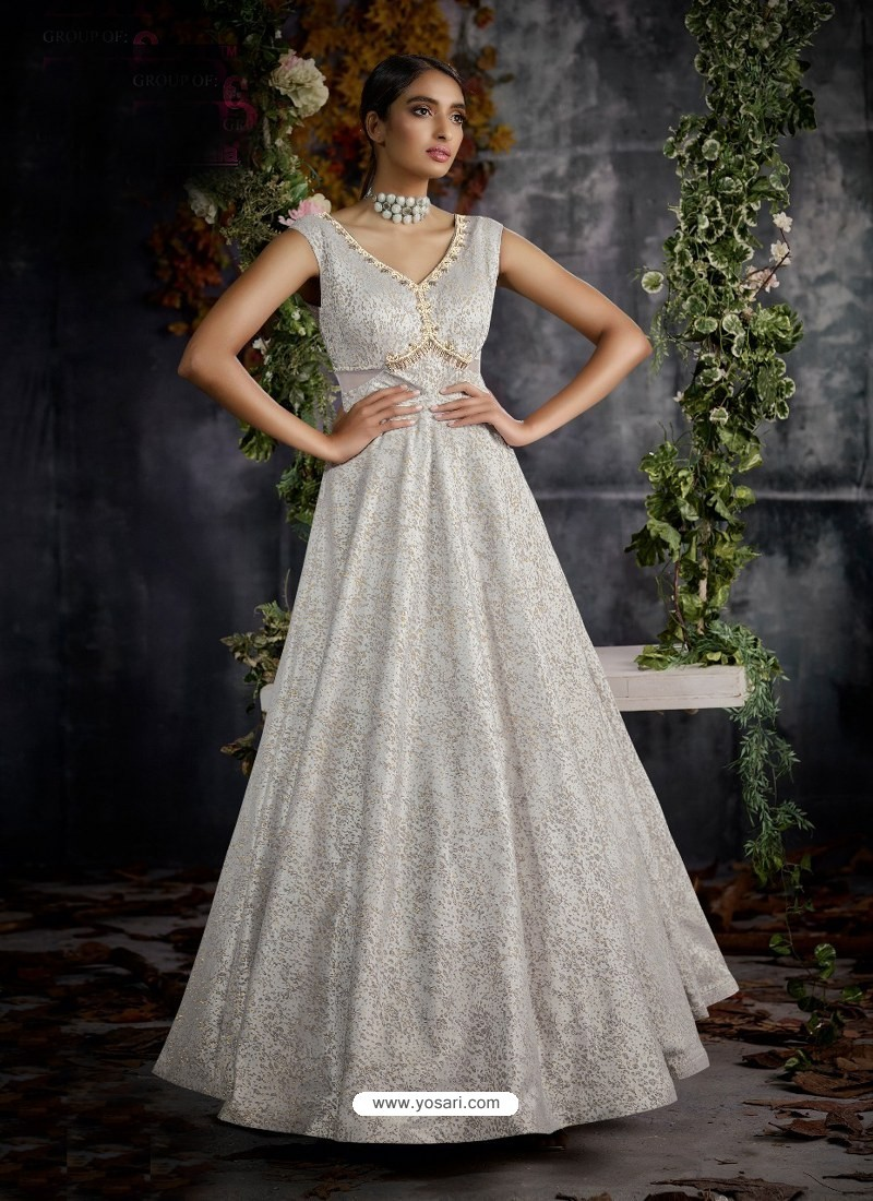 Buy Silver Jacquard Designer Readymade Gown Gowns