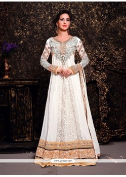 Fab White Brasso And Net Designer Anarkali Suit