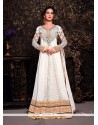Fab White Brasso And Net Designer Anarkali Suit