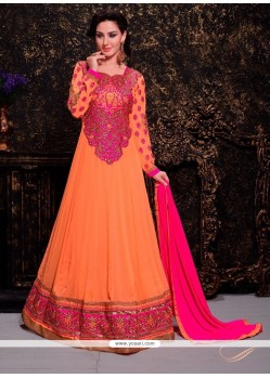 Pleasing Orange Georgette Anarkali Suit