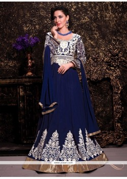 Stylish Blue Georgette Designer Anarkali Suit