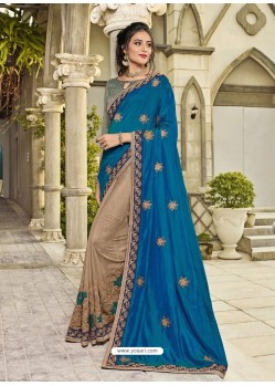 Tealblue And Beige Two Tone Silk Embroidered Designer Saree