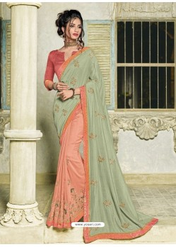 Sea Green And Light Orange Silk Fabrics Embroidered Designer Saree