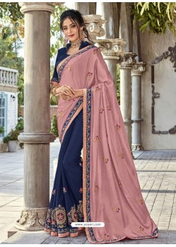 Light Pink And Navy Silk Fabrics Embroidered Designer Saree