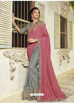 Light Pink And Grey Two Tone Silk Embroidered Designer Saree