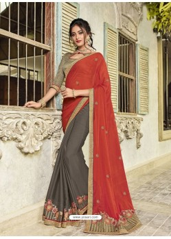 Red And Carbon Two Tone Chiffon Embroidered Designer Saree
