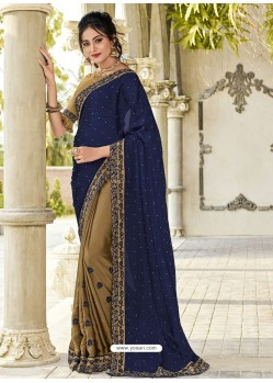 Navy And Gold Two Tone Bright Georgette Embroidered Designer Saree