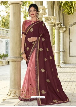 Deep Scarlet And Pink Silk Fabrics Embroidered Designer Saree