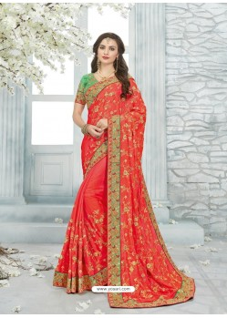 Tomato Red Cadbury Silk Jaquard Designer Saree