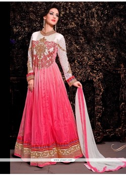 Refreshing Pink Shaded Net Anarkali Suit
