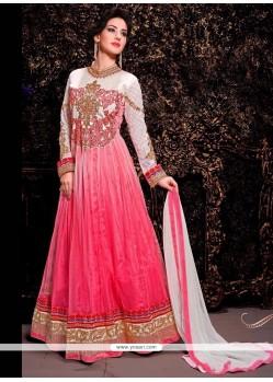 Refreshing Pink Shaded Net Anarkali Suit