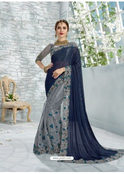 Navy And Silver Simar And Net Jaquard Designer Saree