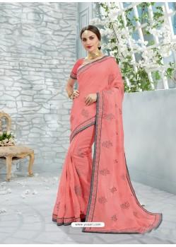 Light Red Chiffon Jaquard Designer Saree