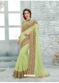Sea Green Net Jaquard Designer Saree