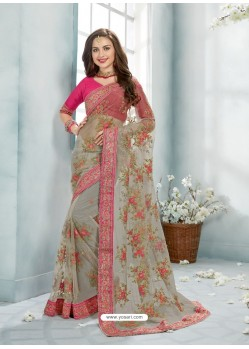Grey Net Jaquard Designer Saree