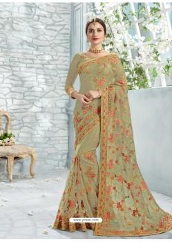 Mehendi Net Jaquard Designer Saree