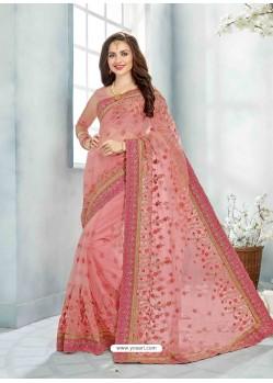 Pink Net Jaquard Designer Saree