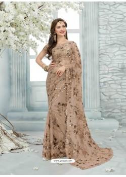 Light Brown Net Jaquard Designer Saree