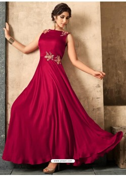 Wine Satin Khatli Worked Party Wear Gown