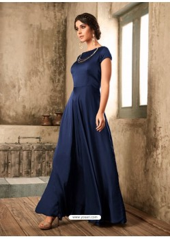 Navy Blue Satin Khatli Worked Party Wear Gown