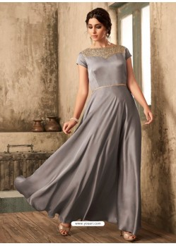 Silver Satin Khatli Worked Party Wear Gown