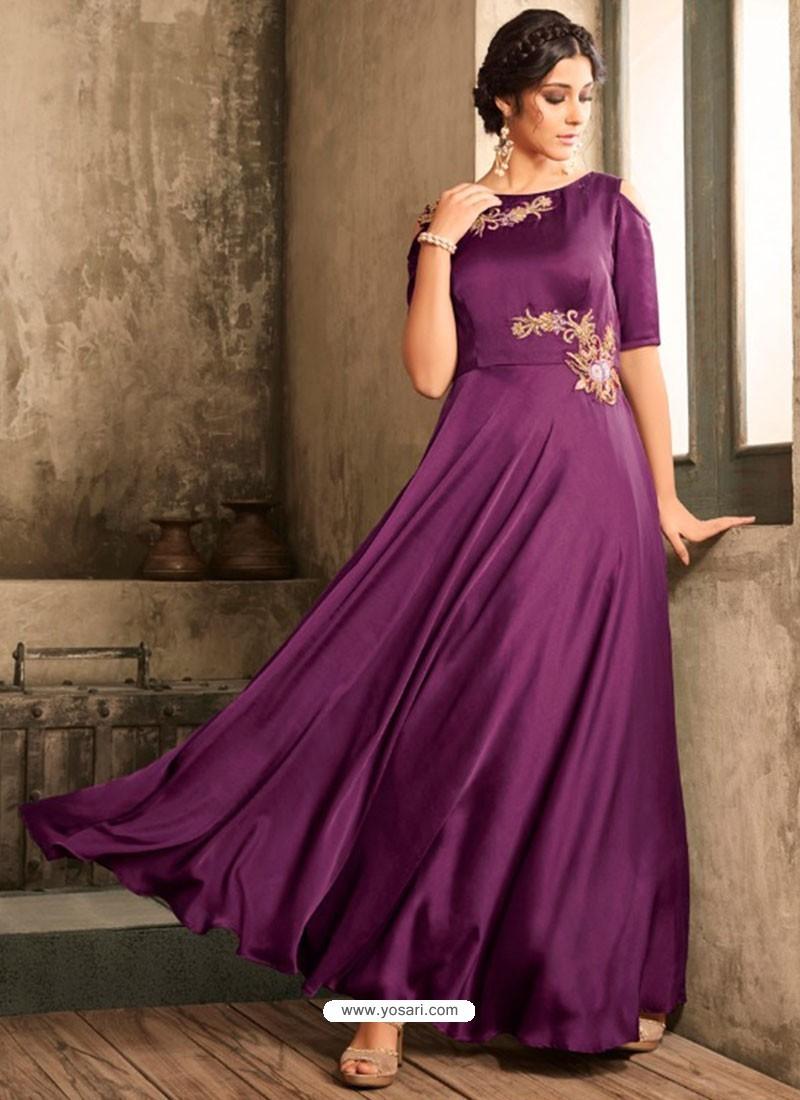 6b7b0f8e7719 Buy Purple Satin Khatli Worked Party Wear Gown