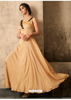 Cream Satin Khatli Worked Party Wear Gown