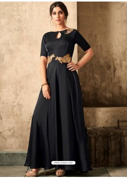 Black Satin Khatli Worked Party Wear Gown