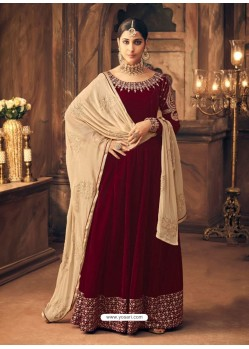 Maroon Velvet Embroidered Designer Straight Suit