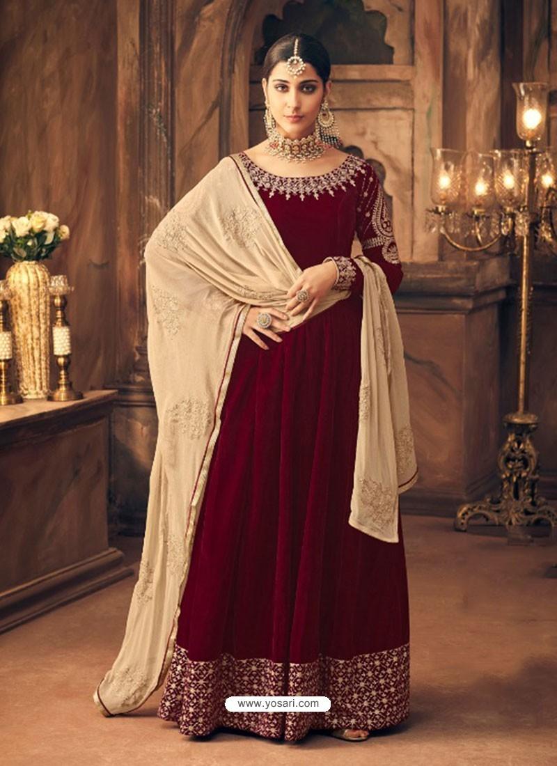 Buy Maroon Velvet Embroidered Designer Straight Suit Straight Salwar Suits