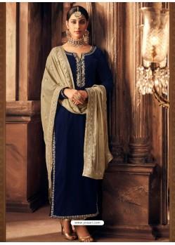 Navy Blue Velvet Embroidered Designer Straight Suit