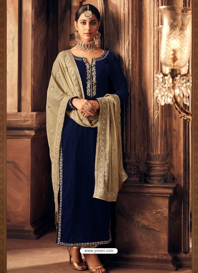 Buy Navy Blue Velvet Embroidered Designer Straight Suit Straight Salwar Suits