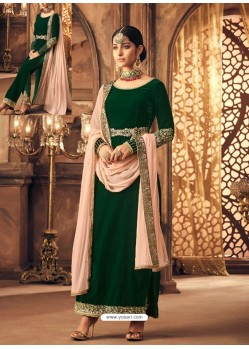 Dark Green Velvet Embroidered Designer Straight Suit