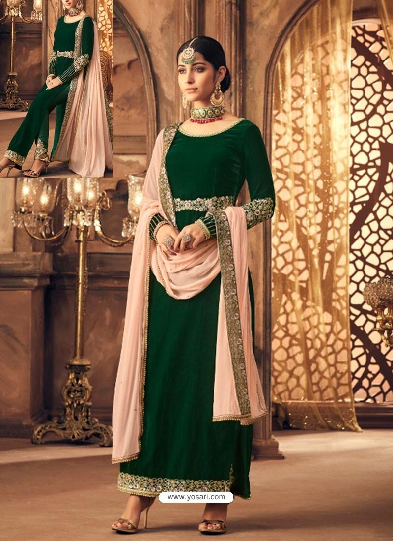 Buy Dark Green Velvet Embroidered Designer Straight Suit Straight