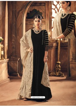 Black Velvet Embroidered Designer Straight Suit