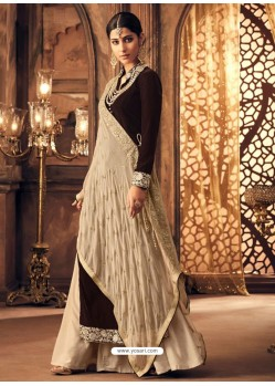 Coffee Velvet Embroidered Designer Straight Suit