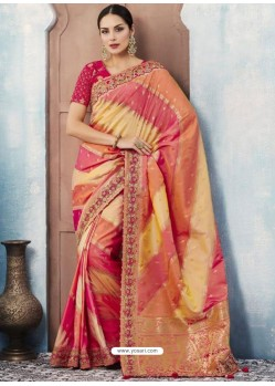 Multi Colour Silk Embroidered Designer Saree