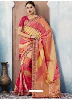 Multi Colour Silk Embroidered Designer Saree