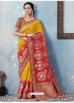 Yellow And Red Silk Embroidered Designer Saree