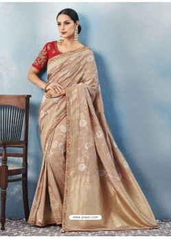 Beige Silk Embroidered Designer Saree